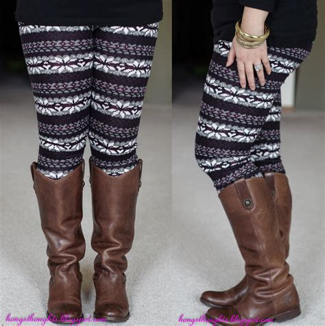 black patterned leggings outfit hong s thoughts winter leggings