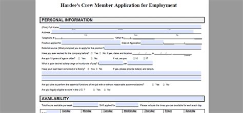printable job application hardees hardee s job application adobe pdf apply online