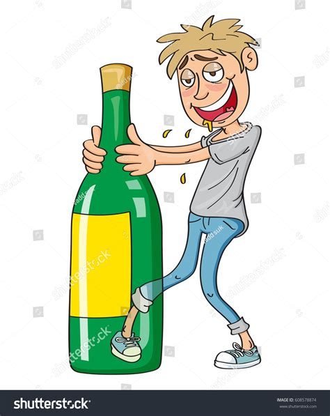 cartoon drinking alcohol drunk guy drinking alcohol vector illustration stock