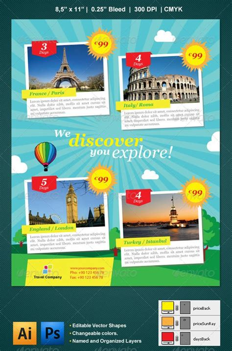 trip flyer templates free travel flyer trips sun and voyage