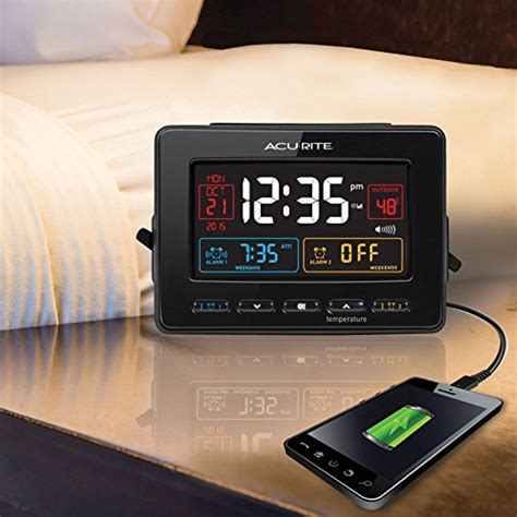 acurite 13022 atomic dual alarm clock with usb charging and temperature new ebay