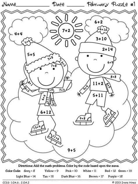 math coloring page winter fabulous february fun winter math printables color by