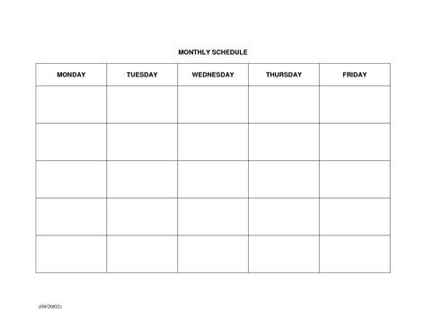 Monthly Schedule Template   e commercewordpress