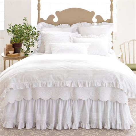 all white embroidered ruffled bedding set pine cone hill