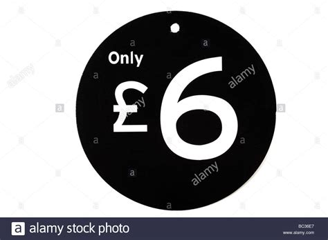 Value Black black and white price tag value of six pounds stock photo