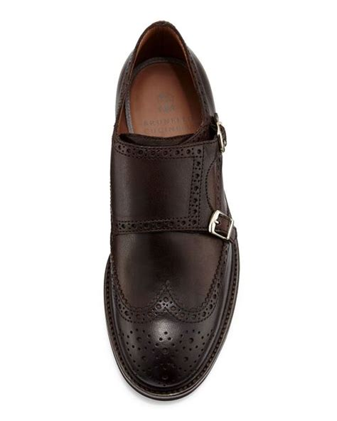 Flat Shoes Burberry 5153 928 brunello cucinelli leather monk wing tip loafer in