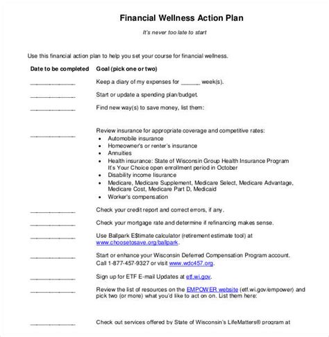 85 Action Plan Templates Word Excel Pdf Free Premium Templates Personal Wellness Plan Template
