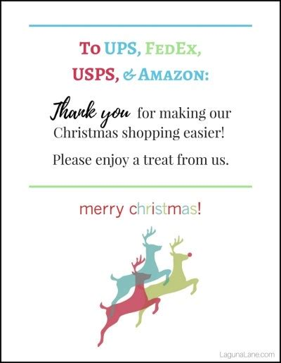 christmas gift for ups driver delivery driver snacks free printable thank you signs laguna
