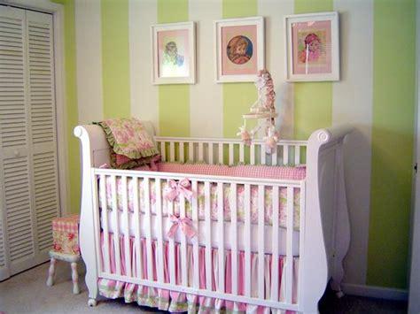 green and pink nursery baby crib dreams