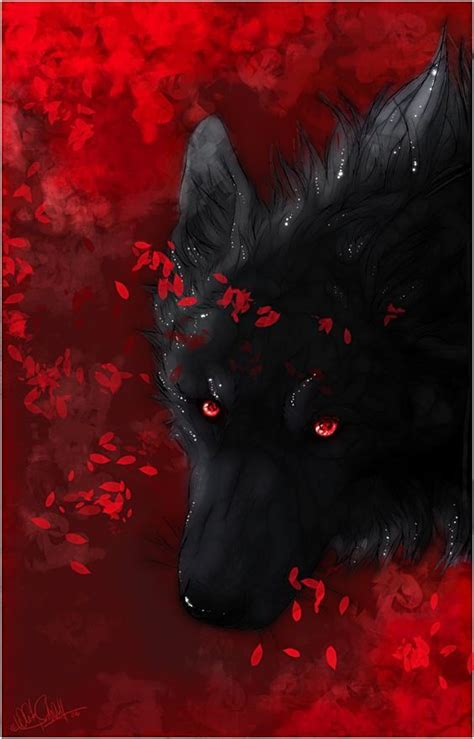 sounds   silence wolf  red eyes fantasy wolf anime wolf