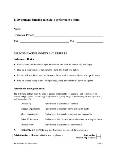 Sle Letter For Product Evaluation Investment Banking Associate Perfomance Appraisal 2