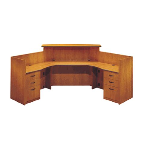 Corner Reception Desk Jasper Swirve Transitional Veneer Corner Reception Desk