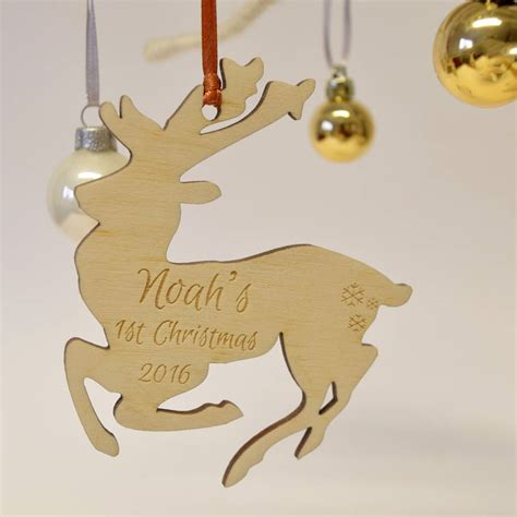 personalised decorations personalised 1st 2016 reindeer decoration by