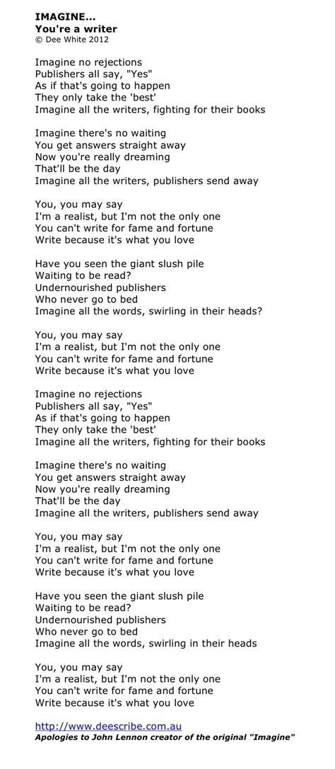 imagine testo lennon imagine you re a writer deescribewriting