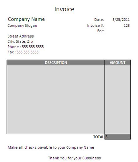 consulting invoice template free free business template
