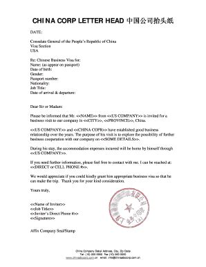 Invitation Letter For Visa Mauritius Business Invitation Letter To Visit Our Company Fill Printable Fillable Blank