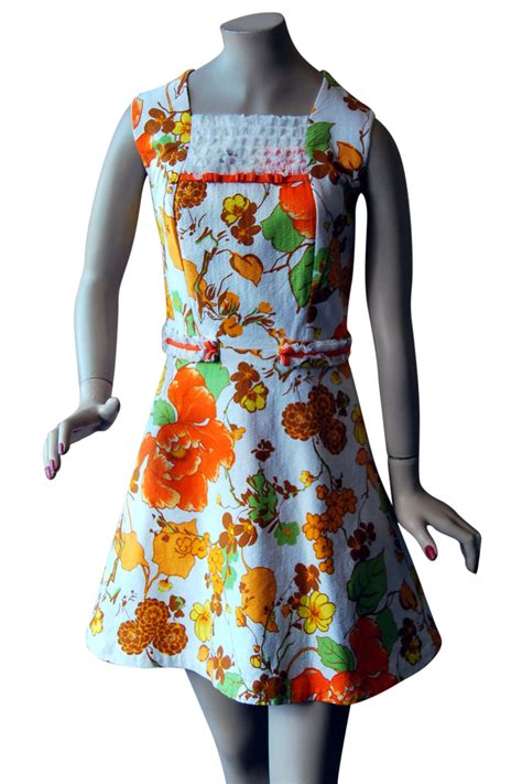 Orange Dress 15774 vintage 1960s print flower power mini mod dress uk retruly