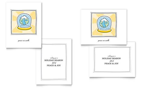 world snowglobe greeting card template design