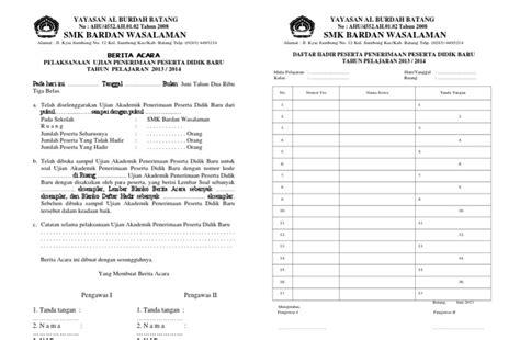format berita acara ujian tengah semester berita acara dan absen