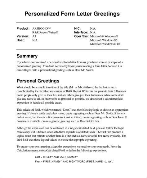 6 Sle Greeting Letters Sle Templates Greeting Letter Template