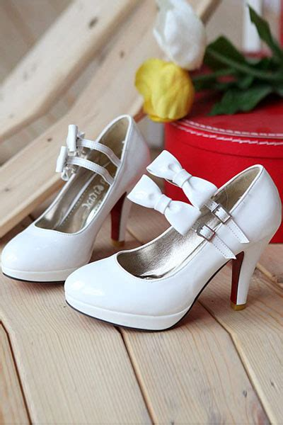 mary jane bow decor double ankle strap heels  fashion