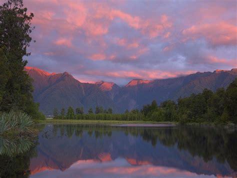 Nature: Lake Matheson At Sunset, South Island, New Zealand