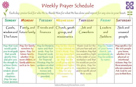 weekly prayer schedule tales beauty ashes