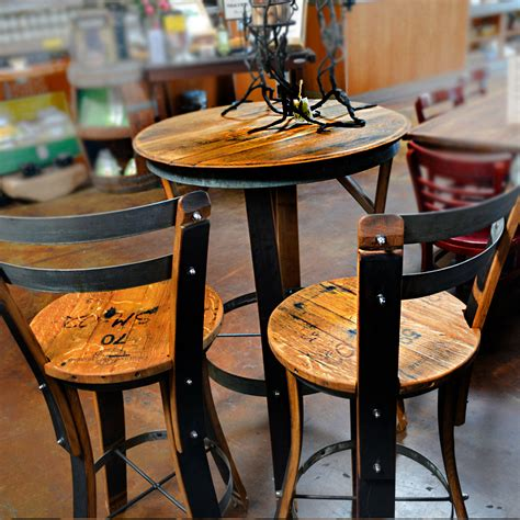 Unique dining chair design with oak wine barrels high top bistro table set two seats bar stools