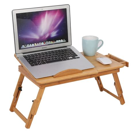 Bamboo Computer Desk Adjustable Computer Desk Portable Bamboo Laptop Folding Table Foldable Laptop Stand Desk