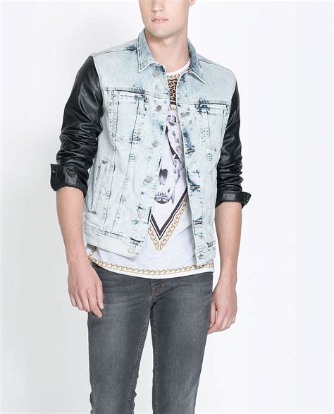 Zara Denim zara bleached denim jacket with faux leaver sleeves in blue for lyst
