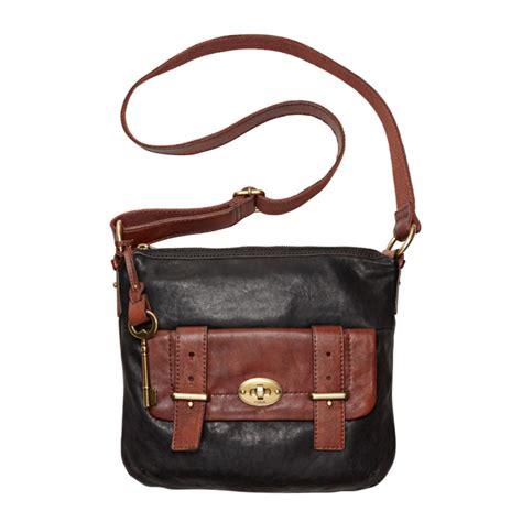 Fussil Womens 2in1 Shoulderbags lyst fossil top zip crossbody bag in black