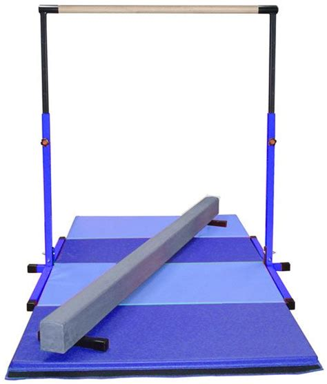 blue adjustable horizontal bar blue low balance beam