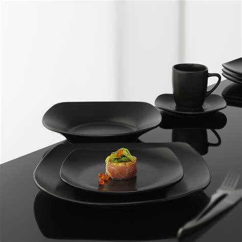 Schwarzes Geschirr Set by Geschirr Bistro Square Black 60 Teiliges Geschirrset