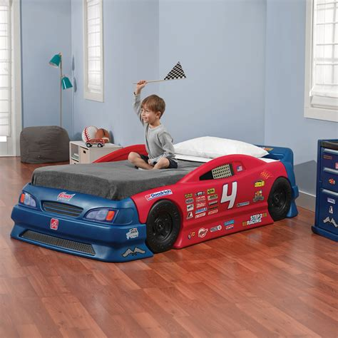 racecar bed step2 wheels toddler to race car bed blue