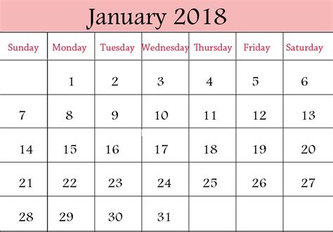 Calendar January 2018 January 2018 Printable Calendar Templates