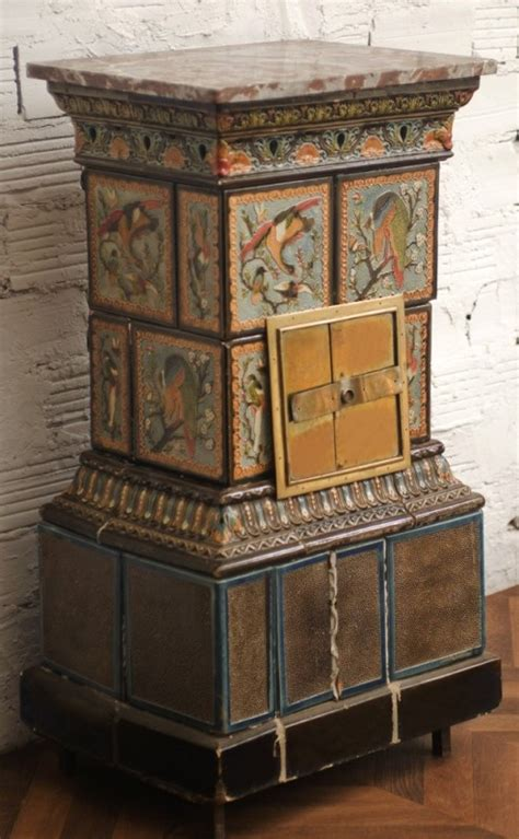 antique wood stove faience pattern