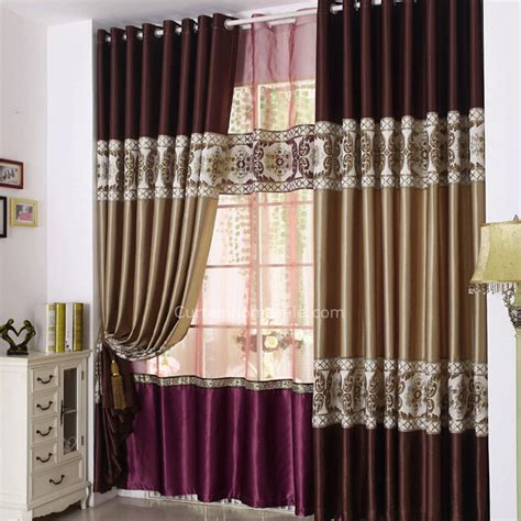 Luxury soft faux silk fabric stitching design blackout curtain for living room