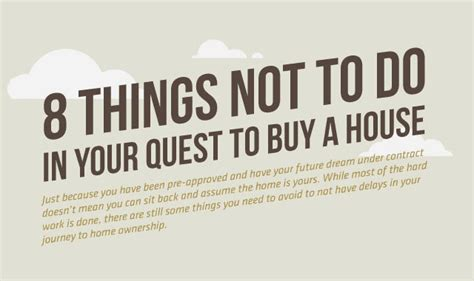 to buy a house or not 8 things not to do in your quest to buy a house infographic visualistan
