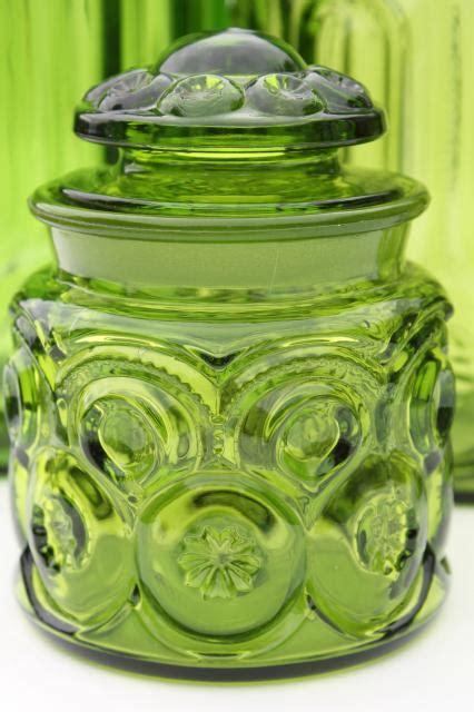 vintage moon stars green glass canister set flour sugar coffee tea canisters