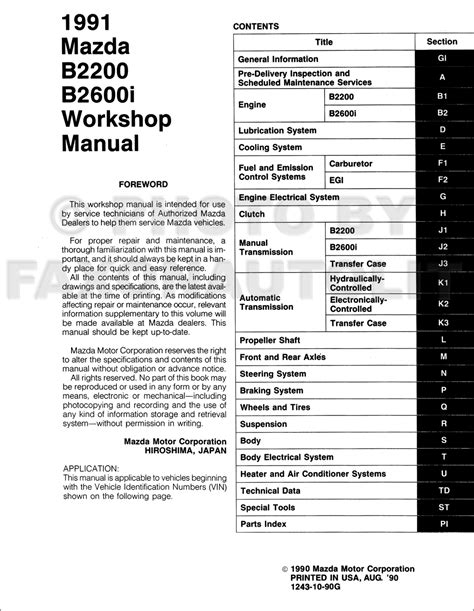service manual pdf 1991 mazda b series repair manual 1983 1984 1985 1986 1987 1988 1989