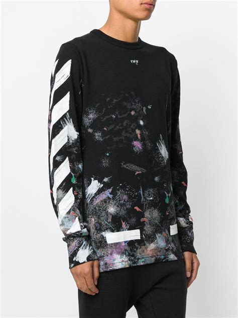 White Shirt Galaxy by Lyst White C O Virgil Abloh Galaxy Brushed Sleeved T Shirt In Black For