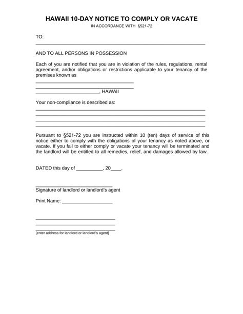 Free Hawaii 10 Day Notice To Quit Form Non Compliance Pdf Eforms Free Fillable Forms Eviction Notice Hawaii Template