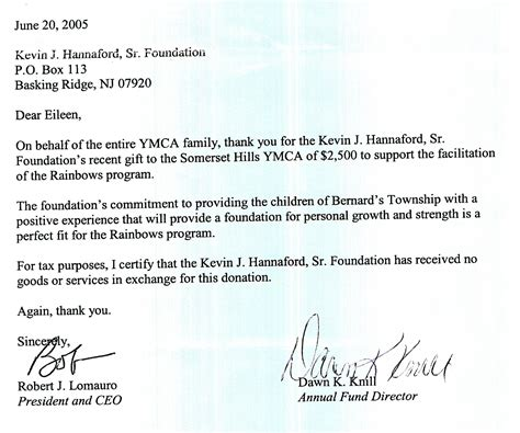Financial Assistance Letter For Ymca My