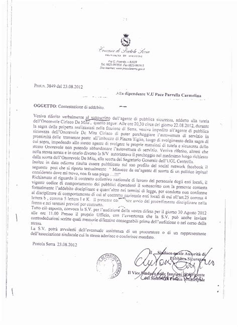 lettere di contestazione disciplinare scorta ai de mita la contestazione di addebito alla