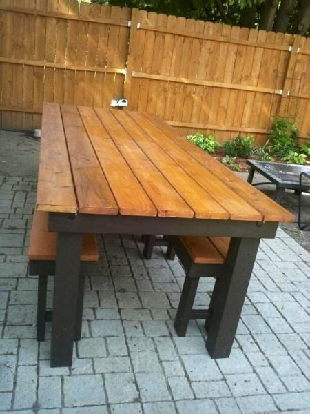 Wooden Patio Table Modified Rustic Table And Benches Do It Yourself Home Projects From White Furniture For