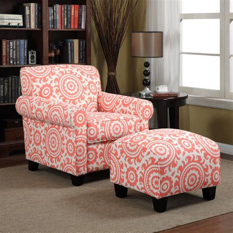 portfolio chair and ottoman portfolio mira orange coral medallion arm chair and