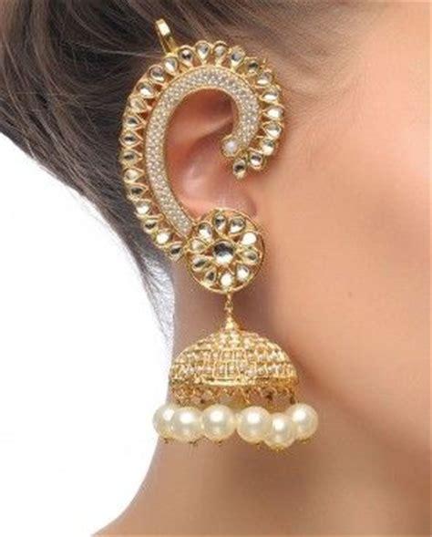 gold, silver, meenakari, pearl and crystal jhumka style