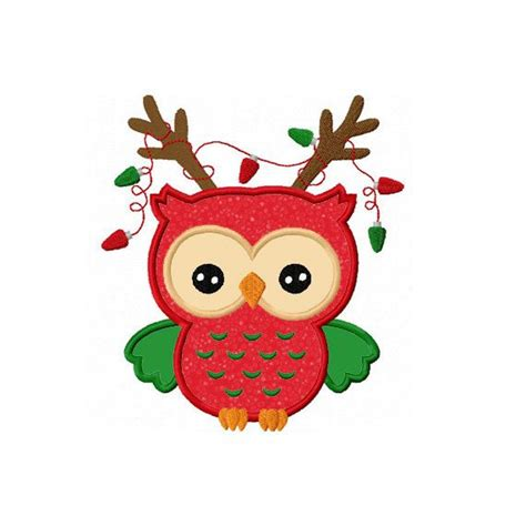 images of christmas owls christmas reindeer owl applique machine embroidery design