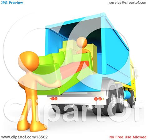moving clipart clipart illustration of two orange figures lifting