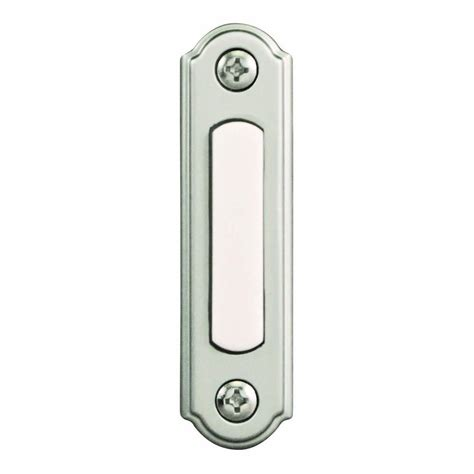 wired doorbell button with light hton bay wired lighted door bell push button brushed